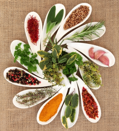 Spice and fresh herb selection in porcelain dishes and mortar with pestle over hessian background  photo