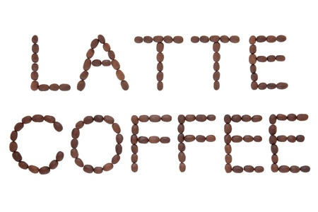 Latte coffee bean design in word form over white background Stock Photo - 17119652