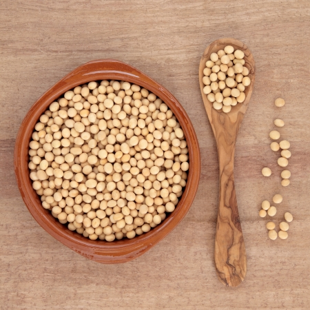 Soya beans in an olive wood spoon and terracotta bowl over papyrus background  Stock Photo - 17119673