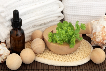 Ladies mantle herb leaf sprigs with aromatherapy essential oil bottle, bath bombs, white towels and sponge, exfoliating scrub and shells over bamboo background Stock Photo - 17248873