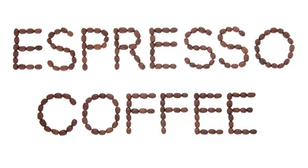 Espresso coffee sign in word and letter form over white background Stock Photo - 17248855