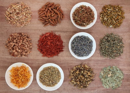 Medicinal herb selection also used in magical potions over papyrus background  Stock Photo - 17248876