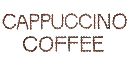 Cappuccino coffee sign in word and letter form over white background  Stock Photo - 17420602