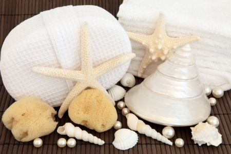 Sea shell and pearl arrangement with natural sponges and spa bath towels over bamboo background  Stock Photo - 17588065