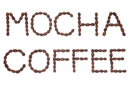 Mocha coffee bean design in word letter form over white background Stock Photo - 17588040