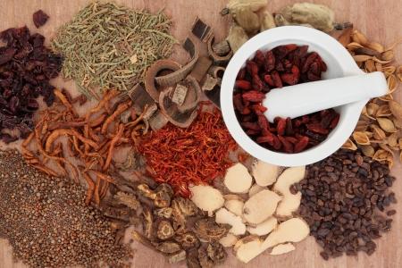 flores chinas: Selecci�n tradicional medicina china a base de hierbas con mortero sobre fondo papiro