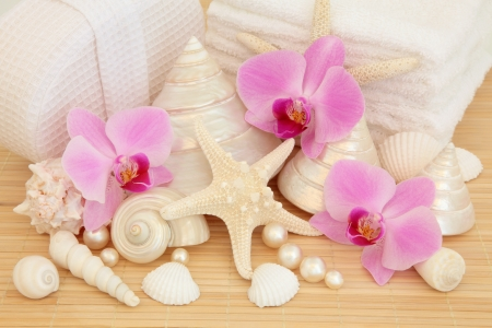 Spa accessories with pink orchid flower group, sea shells, pearls, white towels and linen covered sponge over bamboo background Stock Photo - 17699502