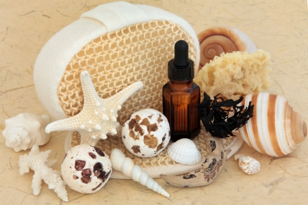 Seaweed spa accessories with bath bombs, aromatherapy essential oil bottle, shells, exfoliating scrubs and  sponge Stock Photo - 17699504
