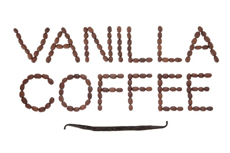 Vanilla coffee bean design in word form with fresh pod over white background Stock Photo - 17699490