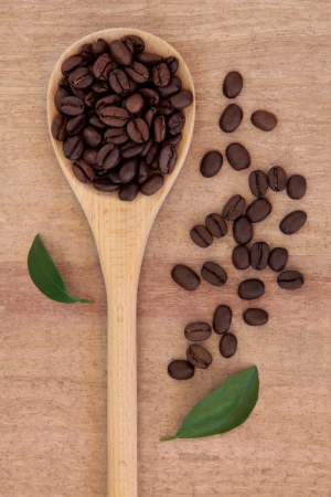 Coffee beans in a wooden spoon with leaf sprigs over papyrus background  Stock Photo - 17699506