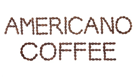 americano: Americano coffee sign in bean letter and word layout over white background
