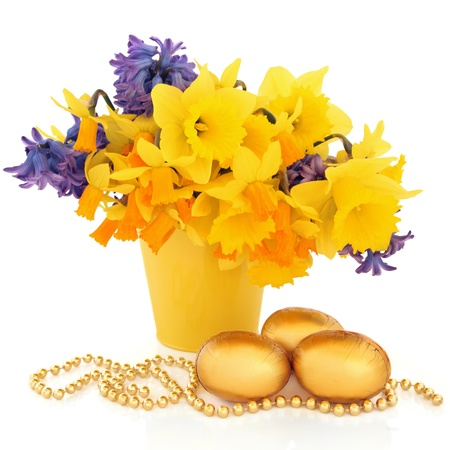 Narcissus Daffodil And Hyacinth Flower Arrangement In A Yellow
