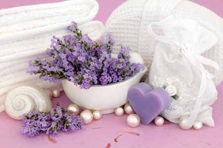 Lavender herb flower sprigs, soap, bag, shells, pearls and spa accessories over mottled pink background Stock Photo - 17817736