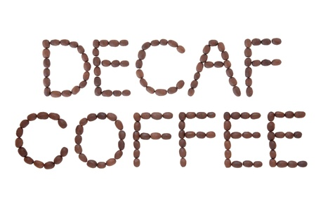 Decaffeinated coffee sign in word and letter form over white background Stock Photo - 17817719