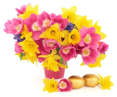 Tulip, daffodil and hyacinth flower arrangement in a pink vase with gold easter chocolate egg group over white background Stock Photo - 17817727