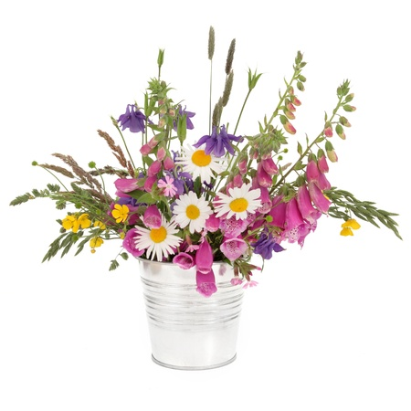 aquilegia: Spring wildflower and grasses arrangement in a stainless steel pot over white background