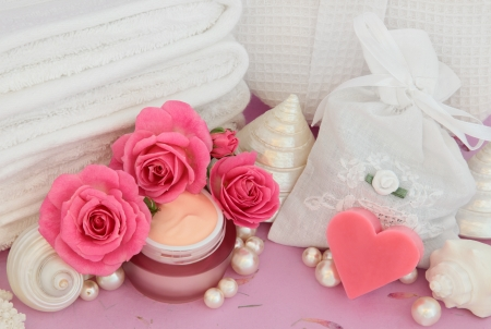 Rose flower spa and bathroom accessories with moisturiser  Stock Photo - 18020121