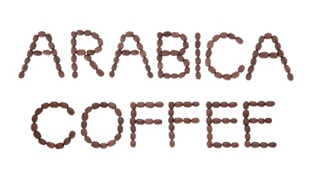 Arabica coffee sign in word and letter form over white background Stock Photo - 18020118