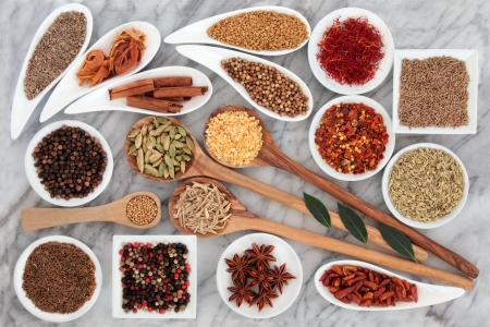 Large herb and spice selection in white bowls and wooden spoons over marble background Stock Photo - 18020695