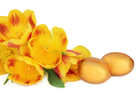 Golden chocolate easter eggs and red and yellow striped tulip flower arrangement over white background Stock Photo - 18020699