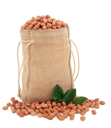 Peanuts in a hessian sack with leaf sprigs over white background  Stock Photo - 18032487
