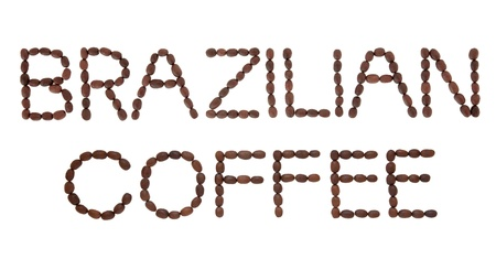 Brazilian coffee bean sign in word and letter form over white background  Stock Photo - 18032470