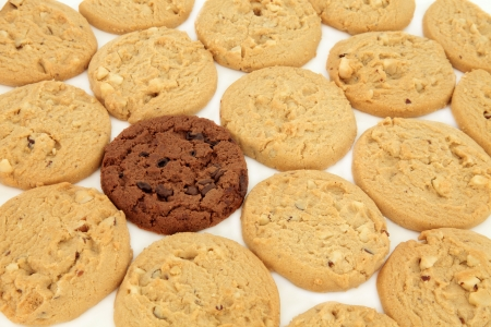 Chocolate chip cookies with one dark chocolate cookie over white background  Selective focus Stock Photo - 18032495