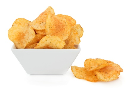 Chili crisp snacks in a porcelain bowl over white background Stock Photo - 18305432