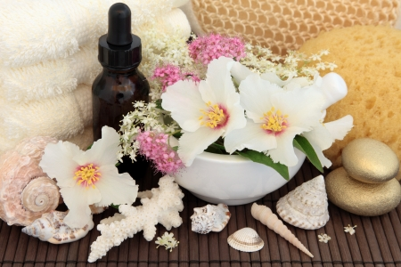 Spa and aromatherapy accessories with rose syringa, elderflower and spirea flower blossom over bamboo   Stock Photo - 18422904