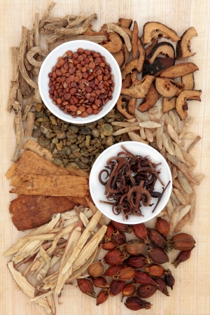 herbal remedy: Chinese herbal medicine loose and in white porcelain bowls with chopsticks over papyrus background