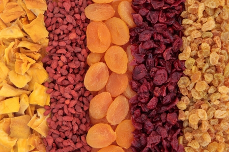 Dried fruit forming a background of mango, goji berry, apricot, cranberry and golden raisins Stock Photo - 18424169