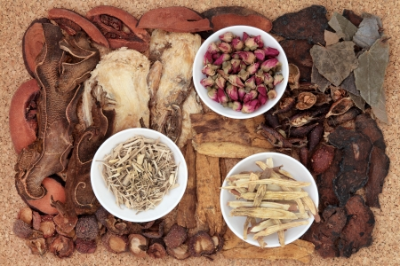 china rose: Chinese traditional herbal medicine selection over cork background