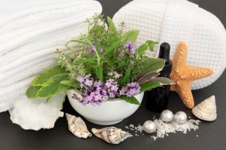 Aromatherapy spa and bathroom accessories with herb and flower leaf sprigs over slate background  Stock Photo