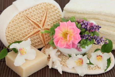 Spa and bathroom accessories with herbs and flowers Stock Photo - 19136232