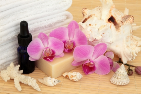 Aromatherapy and bathroom accessories with  pink orchid flowers  Stock Photo - 19136233