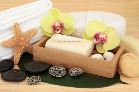 Spa and bathroom accessories with orchid flower blooms  Stock Photo - 19136237