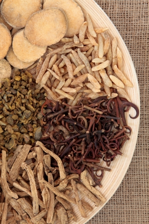 Chinese herbal medicine selection on a round wooden bowl over hessian background  Stock Photo - 19136239