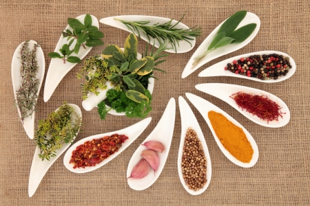 Spice and herb leaf selection in porcelain dishes and mortar with pestle over hessian background  Stock Photo - 19136242