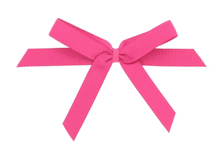 Pink ribbon tied in a bow isolated over white background  Stock Photo - 19136227