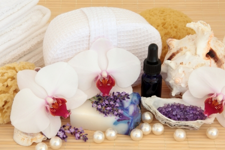 Spa and aromatherapy accessories  with orchid and lavender flower blossom Stock Photo - 19317716