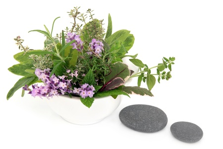 Herb and flower leaf sprigs of lavender, sage, thyme, mint, rosemary and oregano in a mortar with pestle and two grey spa stones over white background Stock Photo - 19317708