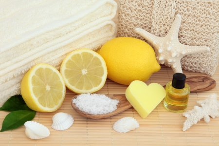 Spa and bathroom aromatherapy accessories with lemon fruit  Stock Photo - 19602179