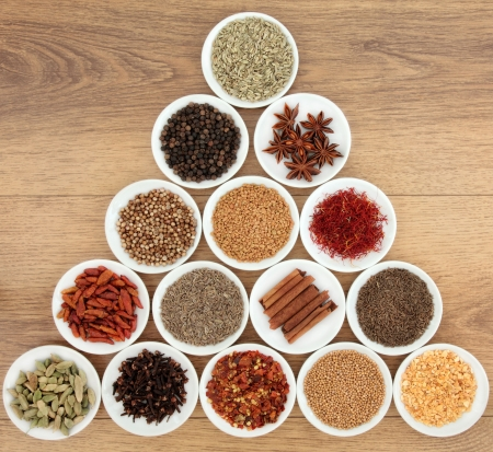Large herb and spice selection in white bowls and wooden spoons over distressed oak background Stock Photo - 19602180