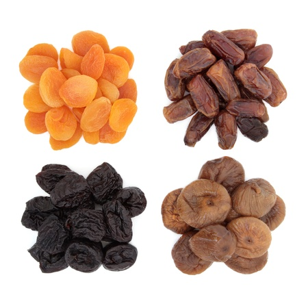 dates fruit: Dried prune, fig, date and apricot fruit over white background  Stock Photo