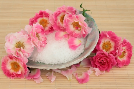 Rose flower spa arrangement with sea salt in an abalone shell and sponge over bamboo background Stock Photo - 19754114