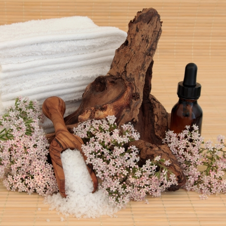 driftwood: Valerian flower spa arrangement with aromatherapy essential oil bottle, sea salt, driftwood and towel stack over bamboo background