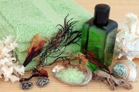 Seaweed spa accessories with green bubble bath foam and salt, towels, pumice stone and sea shells over bamboo background Stock Photo - 19754119