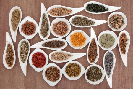 Large medicinal herb and spice selection also used in magical potions over papyrus background  Stock Photo - 19754122