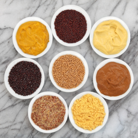 wholegrain mustard: Mustard selection of powder, seed, french, dijon, english and wholegrain in white porcelain spoons over marble background  Stock Photo