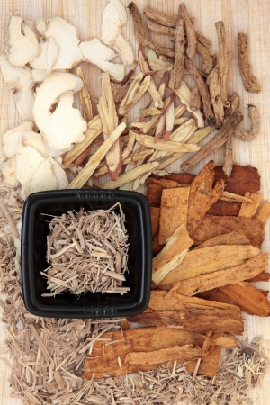 Chinese herbal medicine ingredients over papyrus background  photo